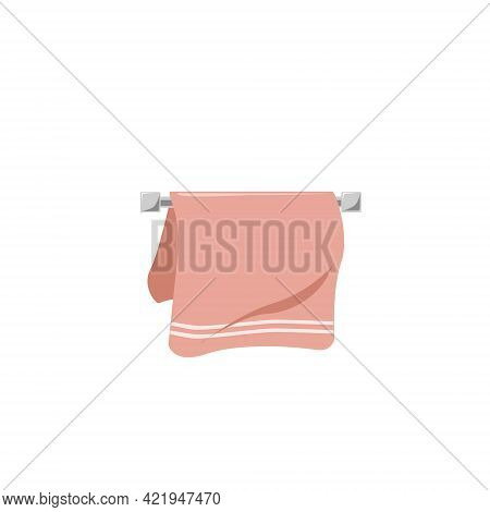 Vector Pink Towel With White Stripes On The Towel Rack, Isolated On A White Background. Bathroom Ite