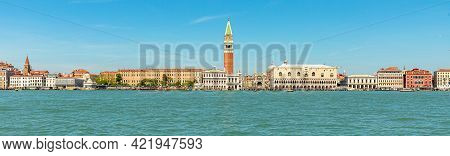 Panorama Of San Marco Bell Tower In San Marco Square In Venice With Saint Mark Basilica Of Venetian