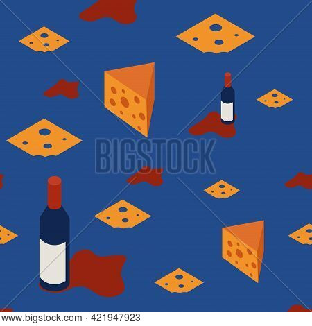 Seamless Pattern With Wine And Sorm For Restaurant Menus And Banners. A Bottle Of Red Wine With Chun