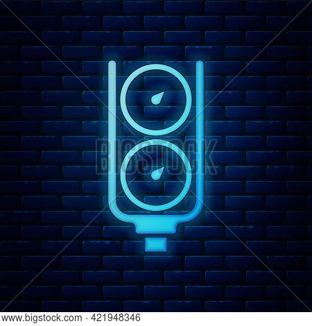 Glowing Neon Gauge Scale Icon Isolated On Brick Wall Background. Satisfaction, Temperature, Manomete