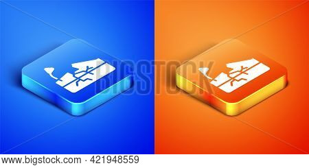Isometric Earthquake Icon Isolated On Blue And Orange Background. Square Button. Vector