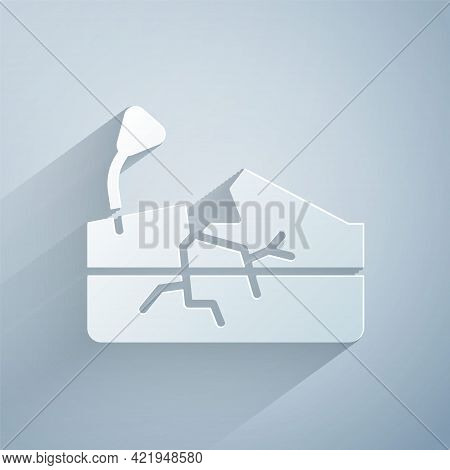 Paper Cut Earthquake Icon Isolated On Grey Background. Paper Art Style. Vector
