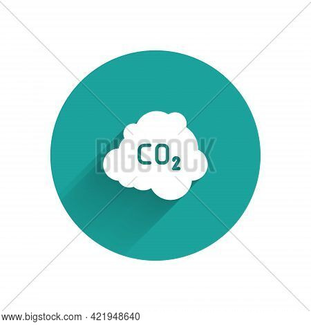 White Co2 Emissions In Cloud Icon Isolated With Long Shadow. Carbon Dioxide Formula, Smog Pollution