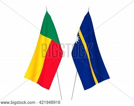 National Fabric Flags Of Benin And Republic Of Nauru Isolated On White Background. 3d Rendering Illu