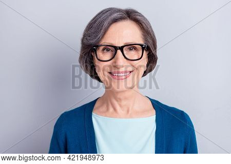 Photo Portrait Of Happy Elder Woman With Grey Hair Wearing Glasses Blue Cardigan Smiling Isolated On