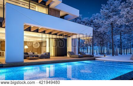 3D Rendering Of Modern House In Luxurious Style In Winter Night