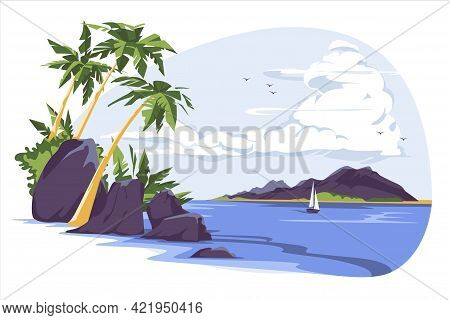 Tropical Landscape With Palm Trees And Sailing Yacht On Seaside Under Cloudy Sky. Idyllic Paradise,