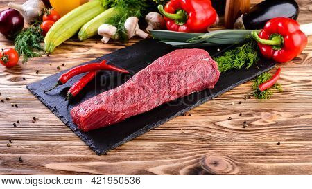 Fresh And Raw Meat. Whole Piece Of Sirloin Steaks In Row Ready To Cook