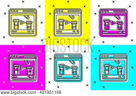 Set Chemical Experiment Online Icon Isolated On Color Background. Scientific Experiment In The Labor