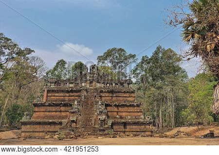Ancient Temple Of Phimeanakas, Angkor Thom. A Stepped Redstone Pyramid In The Jungle. There Is A Sta