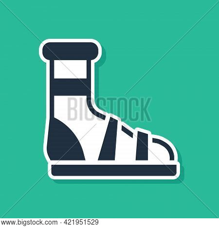 Blue Slippers With Socks Icon Isolated On Green Background. Beach Slippers Sign. Flip Flops. Vector