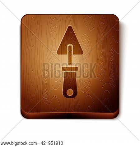 Brown Trowel Icon Isolated On White Background. Wooden Square Button. Vector