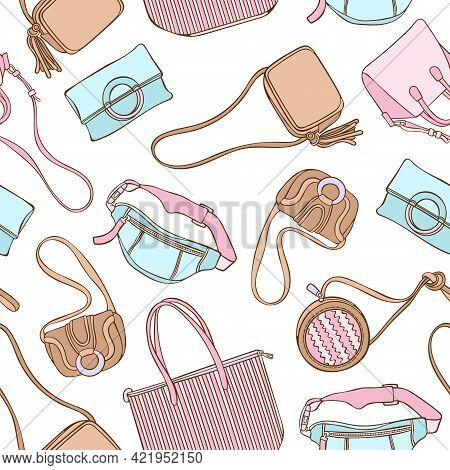 Ladies Handbag. Set Of Fashion Accessories. Seamless Vector Pattern (background). Cartoon Print.