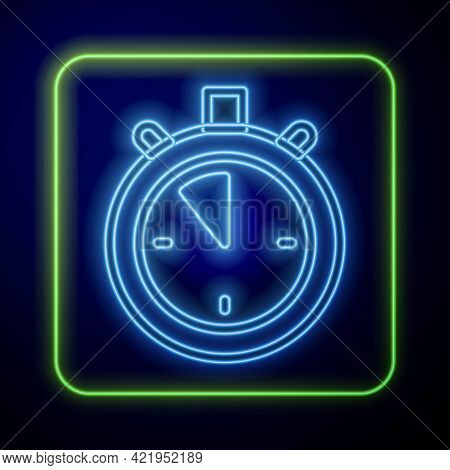 Glowing Neon Stopwatch Icon Isolated On Blue Background. Time Timer Sign. Chronometer Sign. Vector