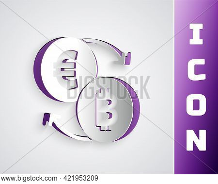 Paper Cut Cryptocurrency Exchange Icon Isolated On Grey Background. Bitcoin To Euro Exchange Icon. C