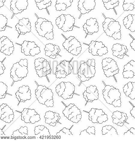 Cotton Candy. Summer Sweetness. Cartoon Print. Seamless Vector Pattern (background).