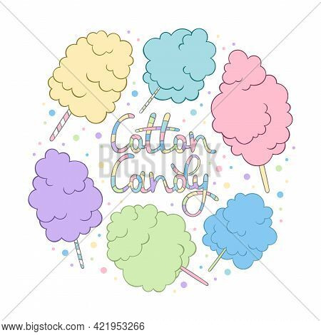 Cotton Candy. Set. Summer Sweetness. Lettering. Cartoon Print. Isolated Vector Object On White Backg