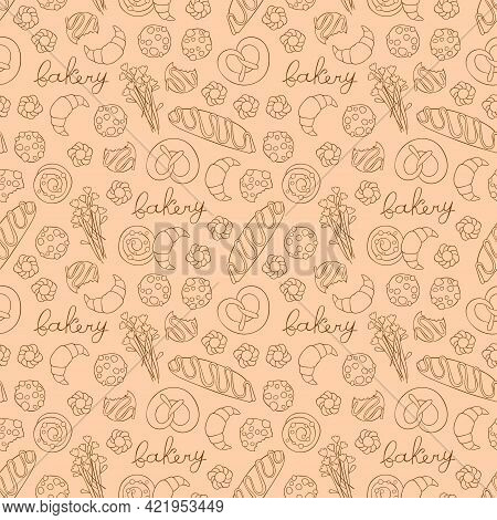 Bakery. Coffee Pot And Coffee Cup. Flowers. Baking: Croissant, Bun, Cookies. Lettering. Seamless Vec