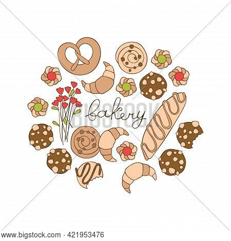 Bakery. Coffee Pot And Coffee Cup. Flowers. Baking: Croissant, Bun, Cookies. Lettering Poster. Isola