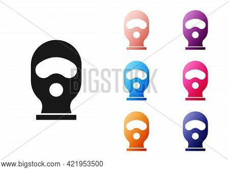 Black Balaclava Icon Isolated On White Background. A Piece Of Clothing For Winter Sports Or A Mask F