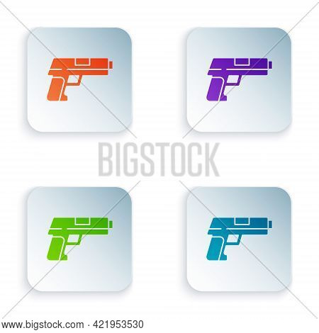 Color Pistol Or Gun Icon Isolated On White Background. Police Or Military Handgun. Small Firearm. Se