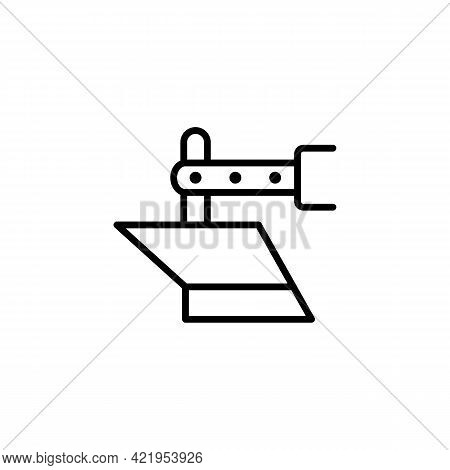 Of The Plow Line, Agricultural Machinery, Tractor In A Simple Style. Vector Sign In A Simple Style I