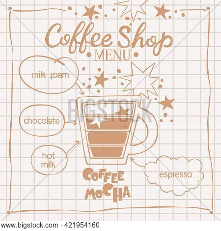 Coffee Mocha. Coffee Shop Menu. Coffee Cup. Lettering. Coffee Drink Recipe. Isolated Vector Object.