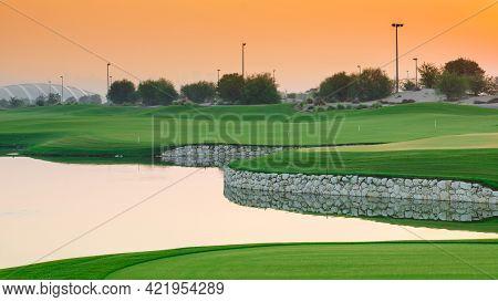 Sunrise In Qatar Foundation Golf Club. Qatar Golf Club