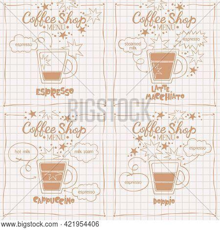 Coffee Cup Set. Espresso. Latte Macchiato. Cappuccino. Doppio. Coffee Shop Menu.  Lettering. Coffee