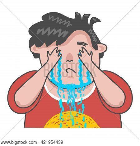 Funny Crying Boy In A Burgundy T-shirt