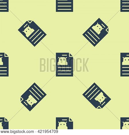 Blue Technical Specification Icon Isolated Seamless Pattern On Yellow Background. Technical Support