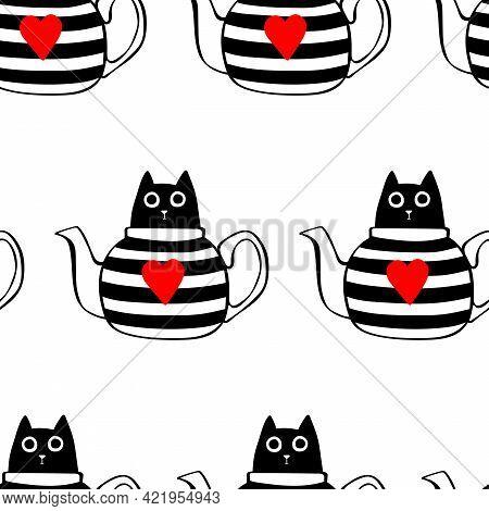Cartoon Cat. Cat In Teapot. Seamless Vector Pattern (background).