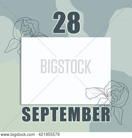 September 28. 28-th Day Of The Month, Calendar Date.a Clean White Sheet On An Abstract Gray-green Ba