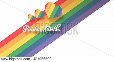Happy Pride Month Horizontal Banner With Heart And Pride Color Flag Isolated On White Background. Pr