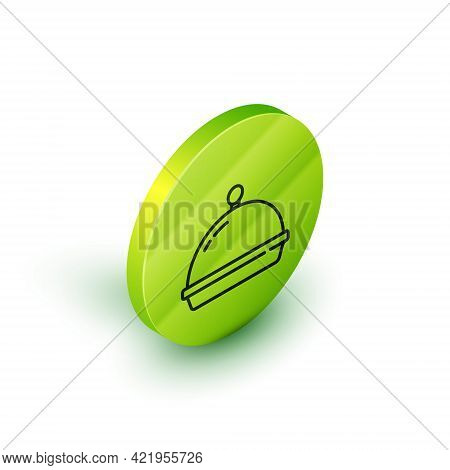 Isometric Line Covered With A Tray Of Food Icon Isolated On White Background. Tray And Lid. Restaura