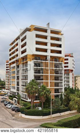 Portimao, Portugal - May 30, 2018: Mixed Use Apartment And Hotel Building In Algarve Region, Portuga