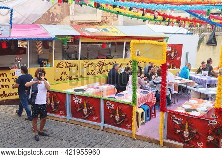 Lisbon, Portugal - June 6, 2018: People Prepare To Festa Santo Antonio In Alfama District, Lisbon, P