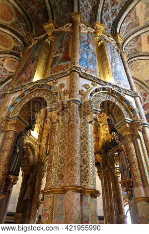 Tomar, Portugal - May 26, 2018: Convent Of Christ Interiors In Tomar, Portugal. The Historic Knights