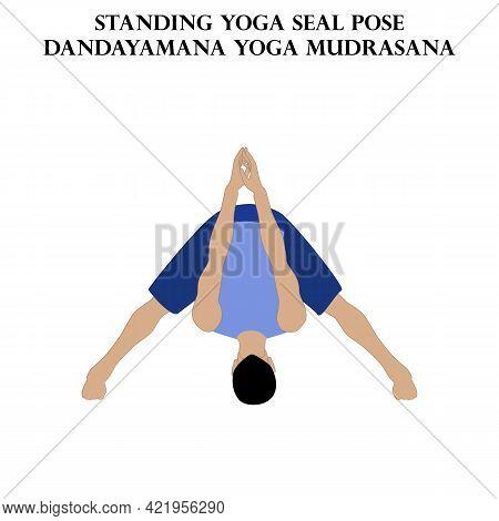 Standing Yoga Seal Pose Yoga Workout. Dandayanma Yoga Mudrasana. Man Doing Yoga Illustration On The