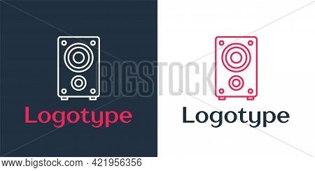 Logotype Line Stereo Speaker Icon Isolated On White Background. Sound System Speakers. Music Icon. M