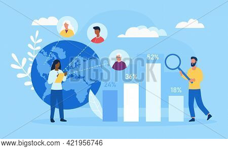 Male And Female Characters Studying Demographic Aging Together. Concept Of Demographic Statistics Da