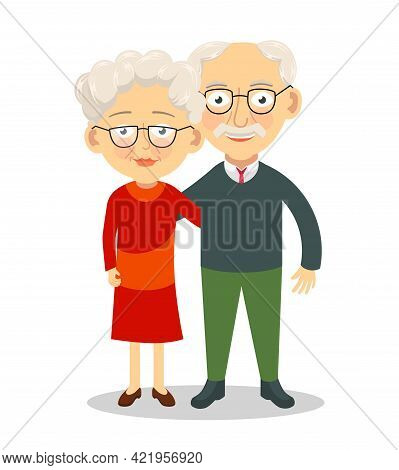 Elderly Couple Standing And Hugging. Grandparents Characters. Old Spouses Vector Illustration
