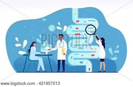 Male And Female Doctors Are Studying Gut Microflora Together. Concept Of Digestive Stomach Living Or