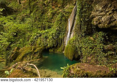View Of Amazing Little Waterfall In The Wild Forest In Umbria, Italy