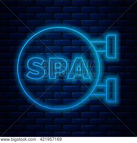 Glowing Neon Line Spa Salon Icon Isolated On Brick Wall Background. Concept For Beauty Salon, Massag