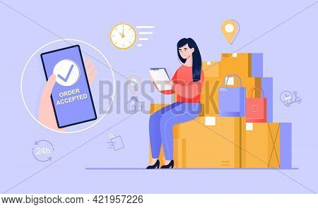 Young Female Character Is Ordering Product Delivery Via Smartphone Application. Woman Is Holding Pho
