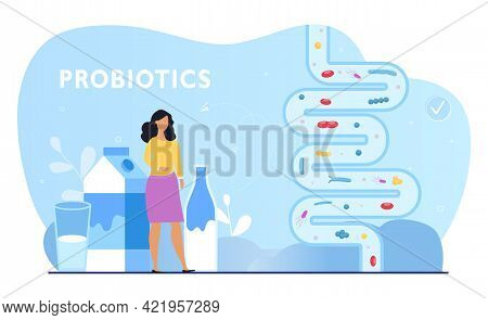 Female Character Is Using Probiotics For Good Digestion. Gut Flora Microorganisms. Concept Of Health
