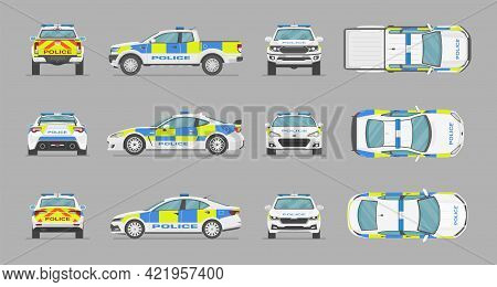 English Police Cars. Side View, Front View, Back View, Top View. Cartoon Flat Illustration, Auto For