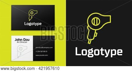 Logotype Line Hair Dryer Icon Isolated On Black Background. Hairdryer Sign. Hair Drying Symbol. Blow