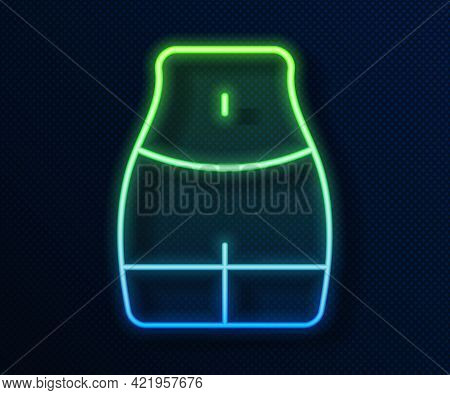 Glowing Neon Line Women Waist Icon Isolated On Blue Background. Vector